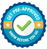 A blue Get Pre-Approved icon badge