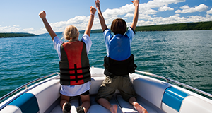 two people on boat with lifejackets
