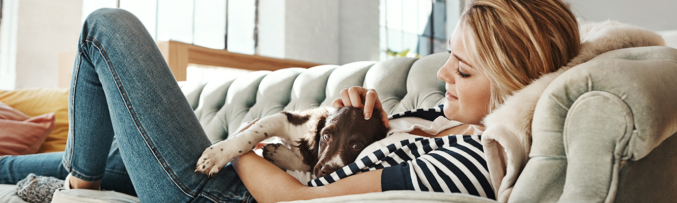 woman laying on couch with dog